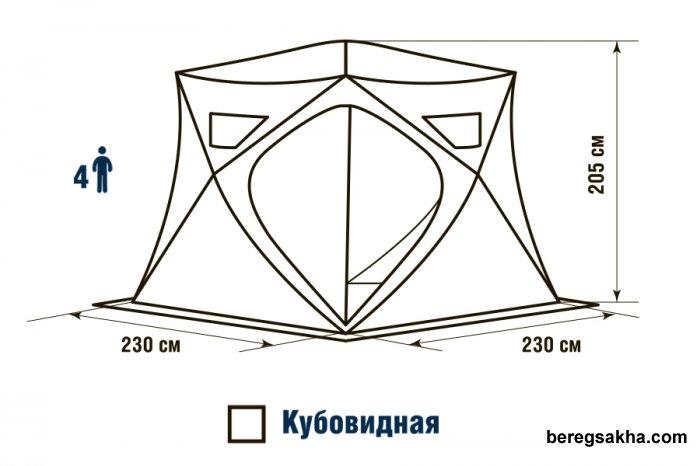 Палатка HIGASHI Pyramid Pro DC, УТЕПЛЕННАЯ, 2,30м*2,30м*2,05м