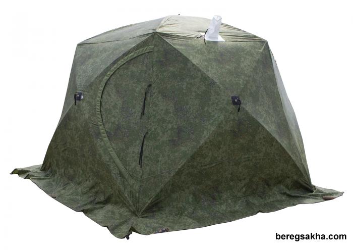 Палатка СТЭК ЧУМ КАМУФЛЯЖ  трехслойная, с выводом под трубу, диаметр 4.2 метра